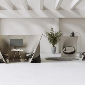 """Fotele i sofy z podwyższonymi oparciami umożliwiają tworzenie w obrębie biura miejsc do indywidualnej pracy. Na zdjęciu: zestaw """"Wyspa"""" firmy Profim. Fot. Profim"""