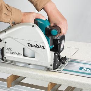 Akumulatorowa ręczna pilarka tarczowa – zagłębiarka (2 x 18 V). Fot. Makita