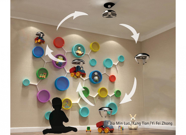 I miejsce w konkursie International Design Award 2018. Drony służą pomocą najmłodszym. Od dzisiaj sprzątanie dziecięcej sypialni to świetna zabawa. Projekt: Jia Min Luo, Kang Tian, Yi Fei Zhong. Fot. Hettich/Rehau