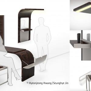 Wystarczy jeden ruch ręki i element ścienny staje się sto-łem. Projekt: Hyeonjeong Hwang, Seunghye Jin. Fot. Hettich/Rehau