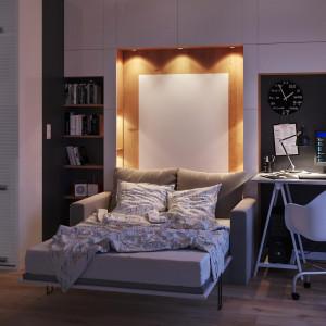 Jeśli nie mamy sypialni, to bardzo dobrym rozwiązaniem jest postawienie w salonie niewielkiej sofy z funkcją spania. Fot. The Space