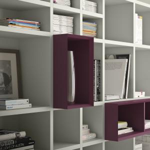 W jednolitym białym regale pojedyncze półki w innym kolorze wyglądają efektownie. Fot. Pianca