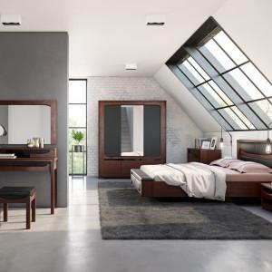 """Łóżko z kolekcji """"Riva"""" (Mebin) posiada nie tylko tapicerowaną ławeczkę i pojemnik na pościel, ale także wmontowane oświetlenie ledowe. Fot.Mebin"""