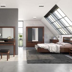 W dużej sypialni można pozwolić sobie na dodatkowe meble, np. toaletkę czy dużą szafę z lustrem. Fot. Mebin