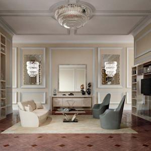 Styl glamour doskonale prezentuje się w przestronnych wnętrzach. Fot. Galeria Heban