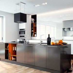 Zastosowanie szkła polimerowego na kuchennych frontach podnosi funkcjonalność kuchni i wygląda efektownie. Fot. Rehau