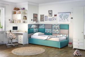 Meble dziecięce - łóżko z modułowym zagłówkiem