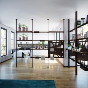 """""""Giostra"""" (Center-Mebel) to system półek i stelaży, dzięki którym można dowolnie podzielić przestrzeń salonu. Fot. Center-Mebel"""