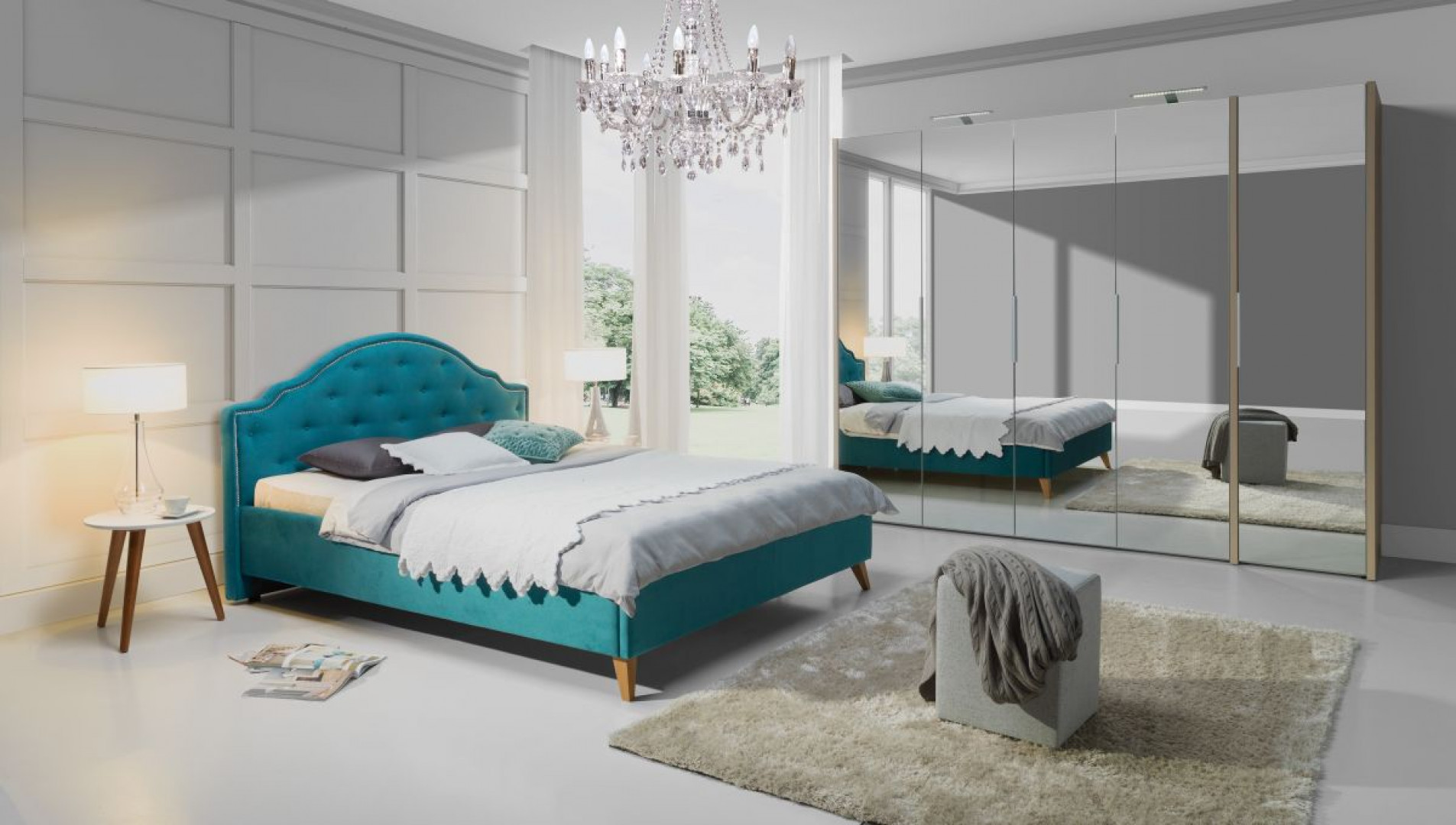 Łóżko Flores z fantazyjnym wezgłowiem. Fot. Wajnert