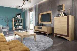 Salon w kolorach jasnego drewna - zobacz ofertę sklepów meblowych!