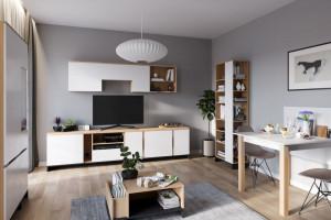 Meble do salonu - efektowne połączenie bieli z drewnem
