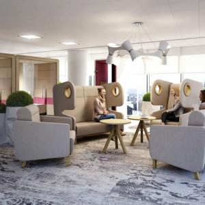 Fotele Packman do komfortowej poczekalni lub przestrzeni relaksu w biurze. Fot. Mikomax Smart Office