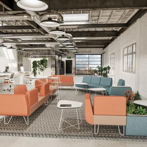 Meble tapicerowane w biurowym open-space mogą służyć do relaksu albo jako miejsce indywidualnych spotkań. Fot. Bejot