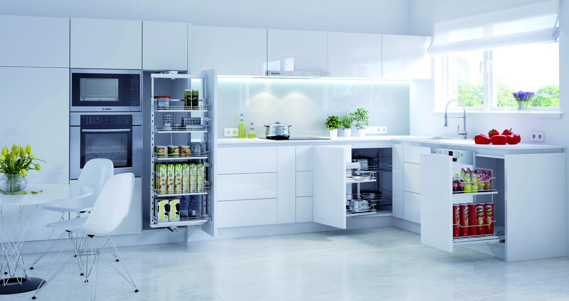 W białej kuchni dobrze sprawdzą się akcesoria w białym kolorze. Fot. Rejs