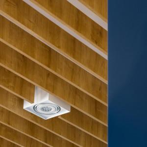 Ponieważ mieszkanie jest dość wysokie, architektom zależało na wprowadzeniu detalu podkreślającego charakter przestrzeni właśnie na suficie. Stąd pomysł na drewniane