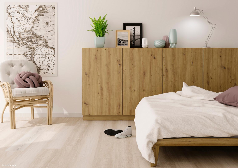 Aranżacja sypialni, w której wykorzystano dekor Artisan (Interprint). Fot. Interprint