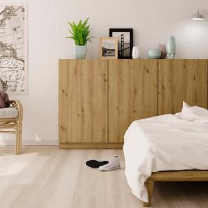 Aranżacja sypialni, w której wykorzystano dekor