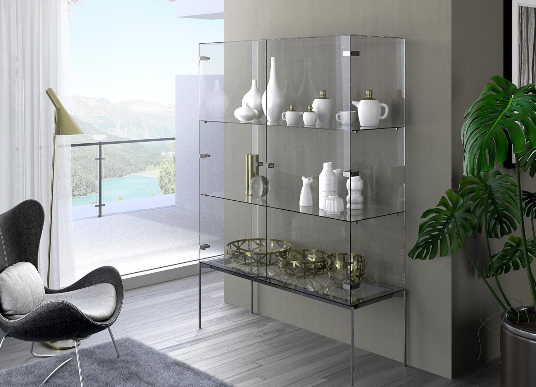 Zawias Sensys w estetyczny sposób łączy szklane fronty z korpusem mebla, który może być wykonany podobnie jak fronty ze szkła lub bardziej tradycyjnie z drewna. Fot. Hettich