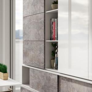 """Poszukując oryginalności, coraz częściej sięgamy po elementy stylu industrialnego. Na zdjęciu: fronty meblowe zdobione dekorem """"Cement"""" firmy Impress Decor. Fot. Impress Decor"""