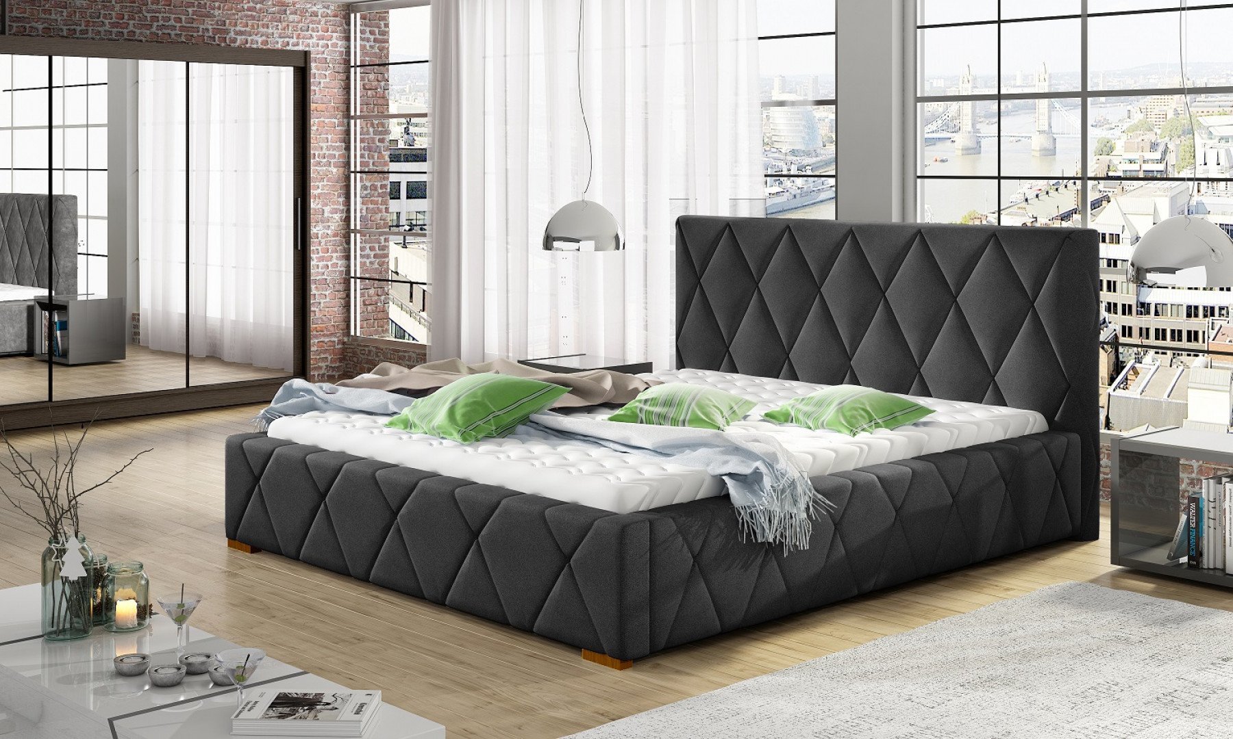 Łóżko tapicerowane Trivio marki Comforteo. Fot. Comforteo