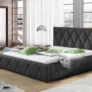 Łóżko tapicerowane Trivi, z geometrycznymi przeszyciami. Fot. Comforteo