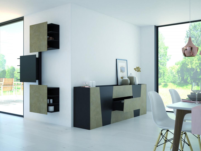 Salon nie tylko służy wypoczynkowi, ale musi też mieć zaprojektowane miejsca do przechowywania. Fot. Hettich