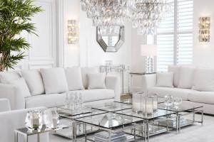 Jasny salon w stylu glamour - zobacz, jak można go zaaranżować!