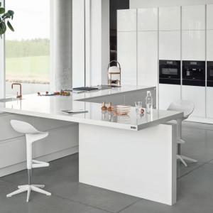 Nowoczesny, utrzymany w czarnej kolorystyce sprzęt agd dynamizuje monolityczną zabudowę kuchenną. Na zdjęciu: model Z1 firmy Zajc. Fot. Zajc