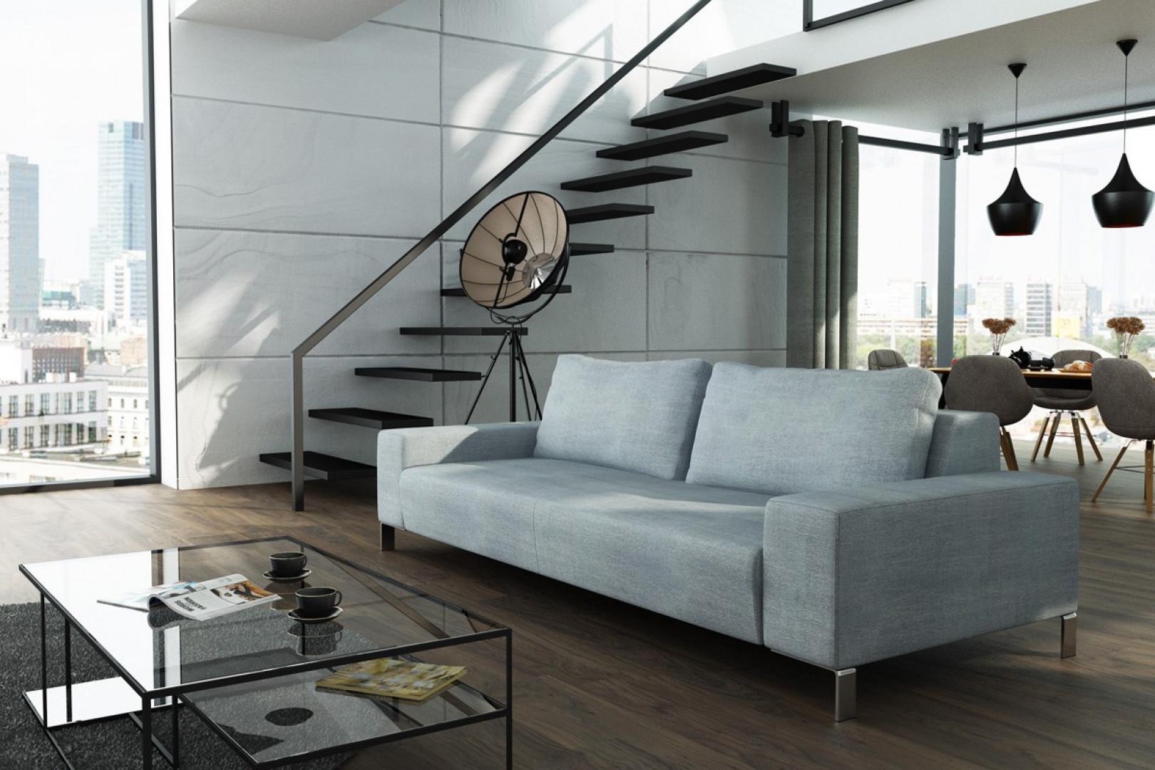 Szara sofa LeMans pasuje do stylu loft. Fot. Adriana Furniture