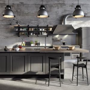 Szare meble kuchenne pasują do stylu loftowego. Fot. Aran