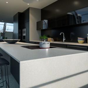 W stylistykę loftową doskonale wpiszą się szare blaty z konglomeratu kwarcytowego, zwłaszcza o rysunku przypominającym naturalny kamień. Fot. TechniStone