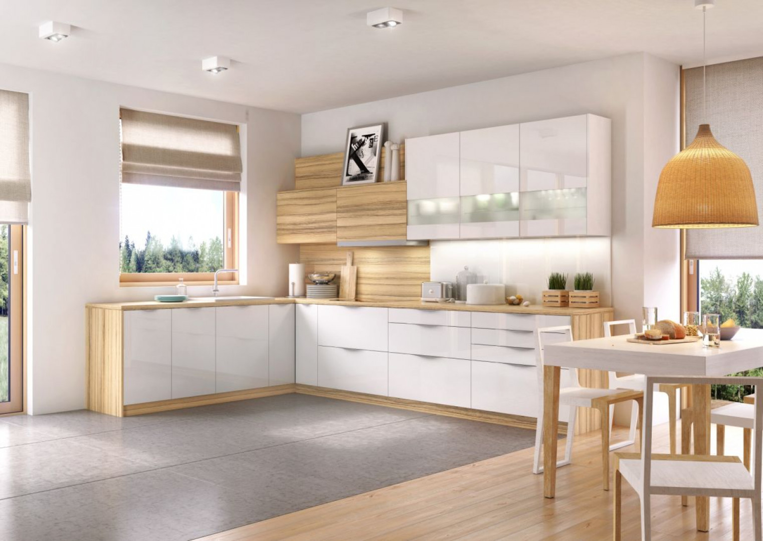 Czy połyskujące bielą fronty nie będą zbyt awangardowe w kuchni, która ma zadawać szyku, ale zachować również ponadczasowy charakter? Nie, jeżeli połączymy ją z dużą ilością drewna, które w takim zestawieniu odgrywa niezwykle istotną rolę - ociepla wizerunek kuchni i sprawia, ze jest ona elegancka. Fot. Kam