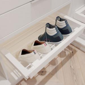 Garderoba ELITE, biała, półka na buty
