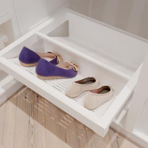 Garderoba ELITE, biała, kosz metalowy na buty