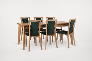 Stół i krzesła z drewna dębowego