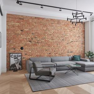 Szarość pasuje do stylu loftowego - sofa doskonale prezentuje się na tle ceglanej ściany. Realizacja Zendesign/Studio Forma 96
