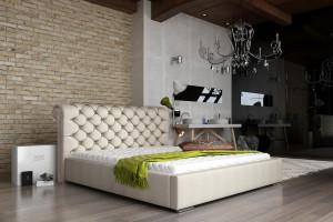 Łóżko z fantazyjnym wezgłowiem
