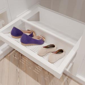 Garderoba ELITE w kolorze białym. Szuflada metalowa na buty. Fot. GTV
