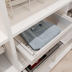 Garderoba ELITE w kolorze białym. Szuflada metalowa. Fot. GTV