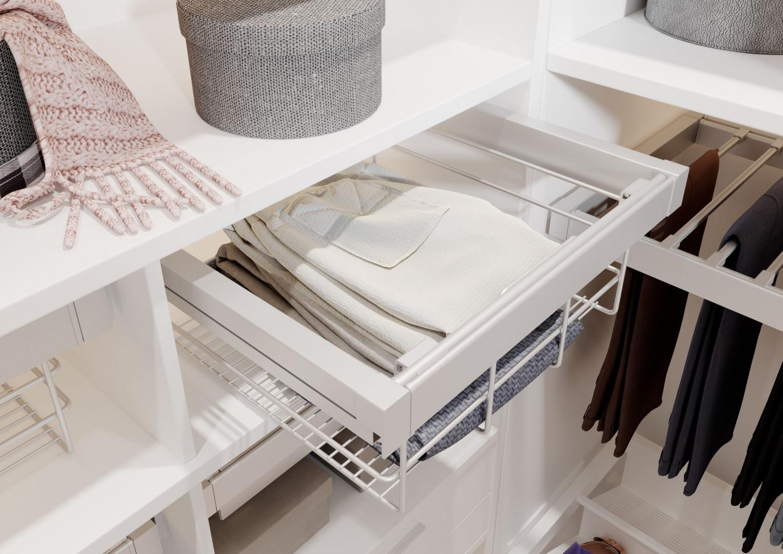 Garderoba ELITE w kolorze białym. Kosz ażurowy. Fot. GTV