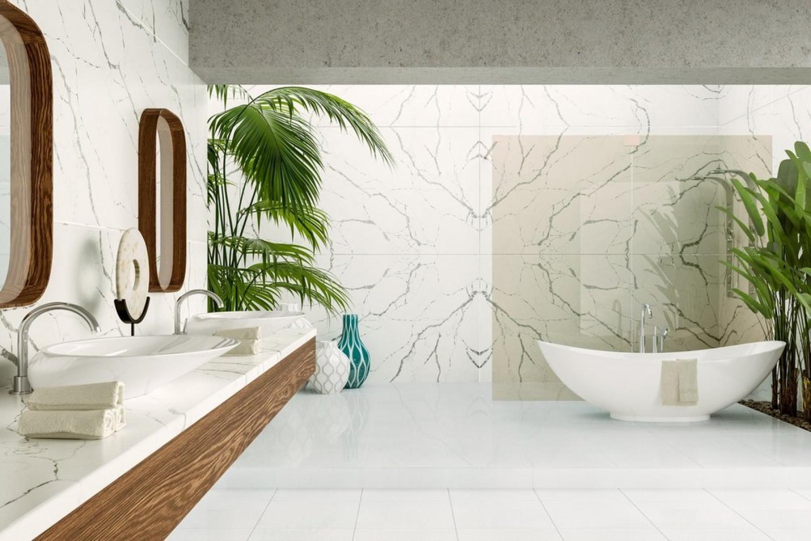 W wykreowaniu nastrojowego wnętrza pomogą konglomeraty kwarcytowe, z których można wykonać eleganckie blaty. Fot. TechniStone