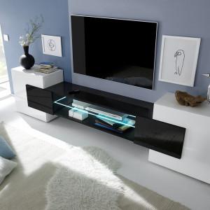 Szafka Incastro - efektowne połączenie bieli i czarnego szkła. Fot. MC Akcent