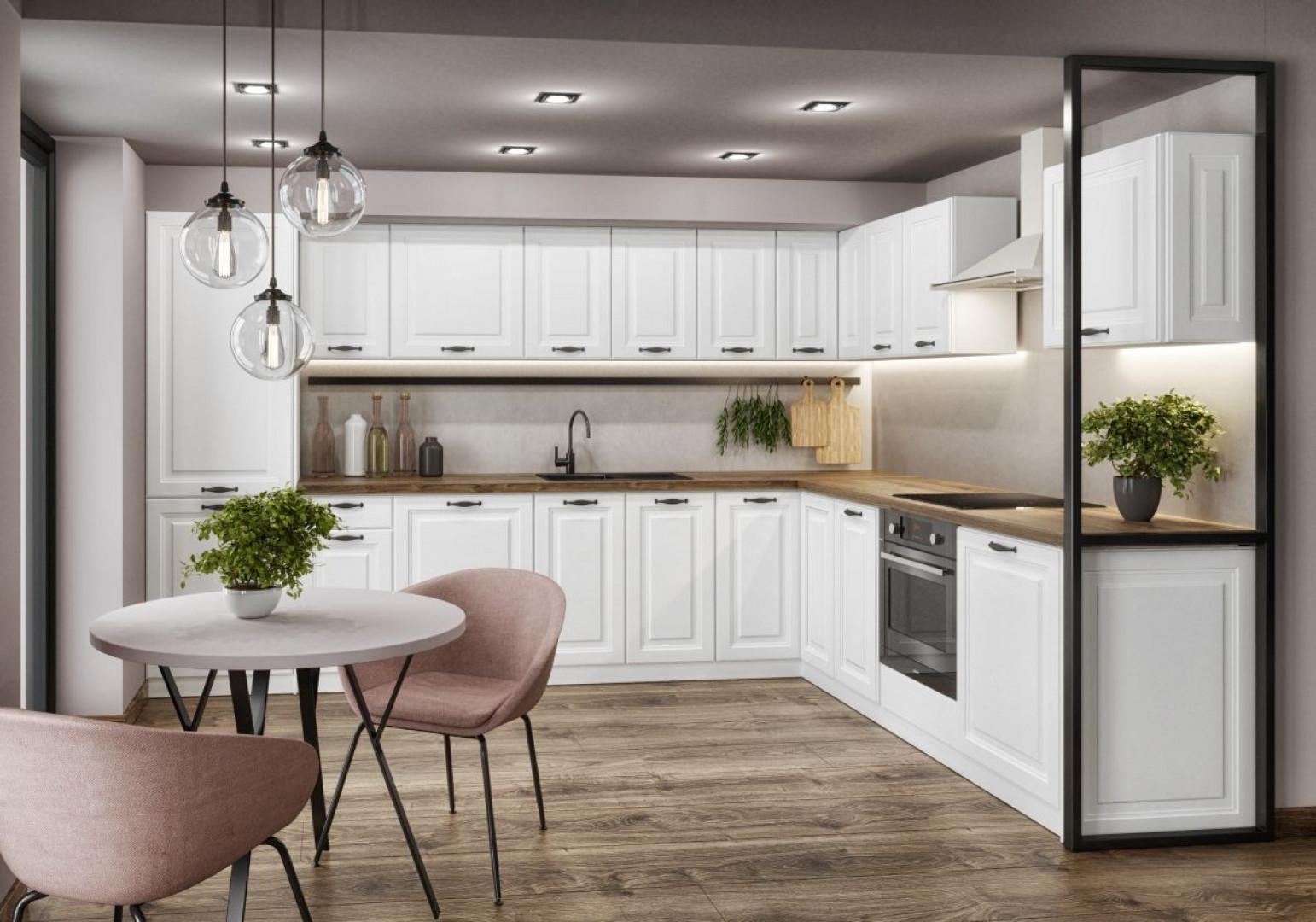"""""""Gaja New"""" (Classen) to kuchnia o klasycznym, ponadczasowym designie. Jej fronty zostały ozdobione geometrycznymi frezowaniami. Fot. Classen"""