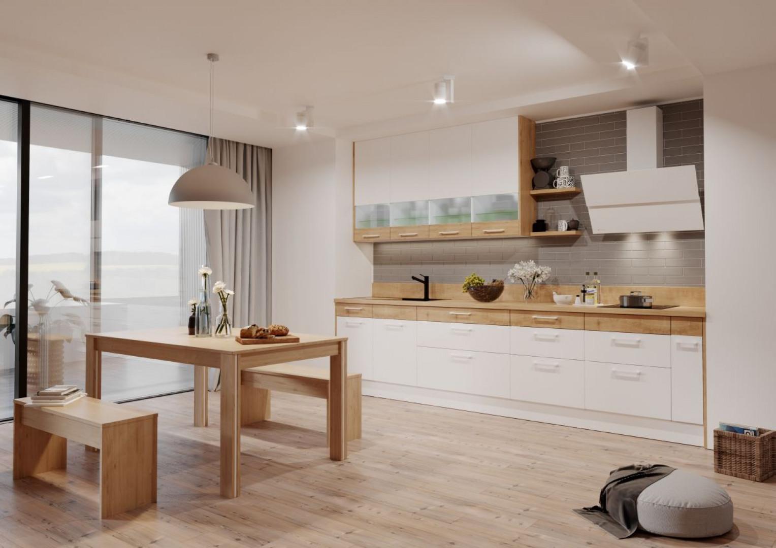 Kuchnia KAMduo ML - kolory drewna połączone z bielą. Fot. KAM Kuchnie