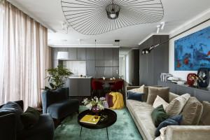 Apartament na Mokotowie - naturalne materiały i miękkie welwety