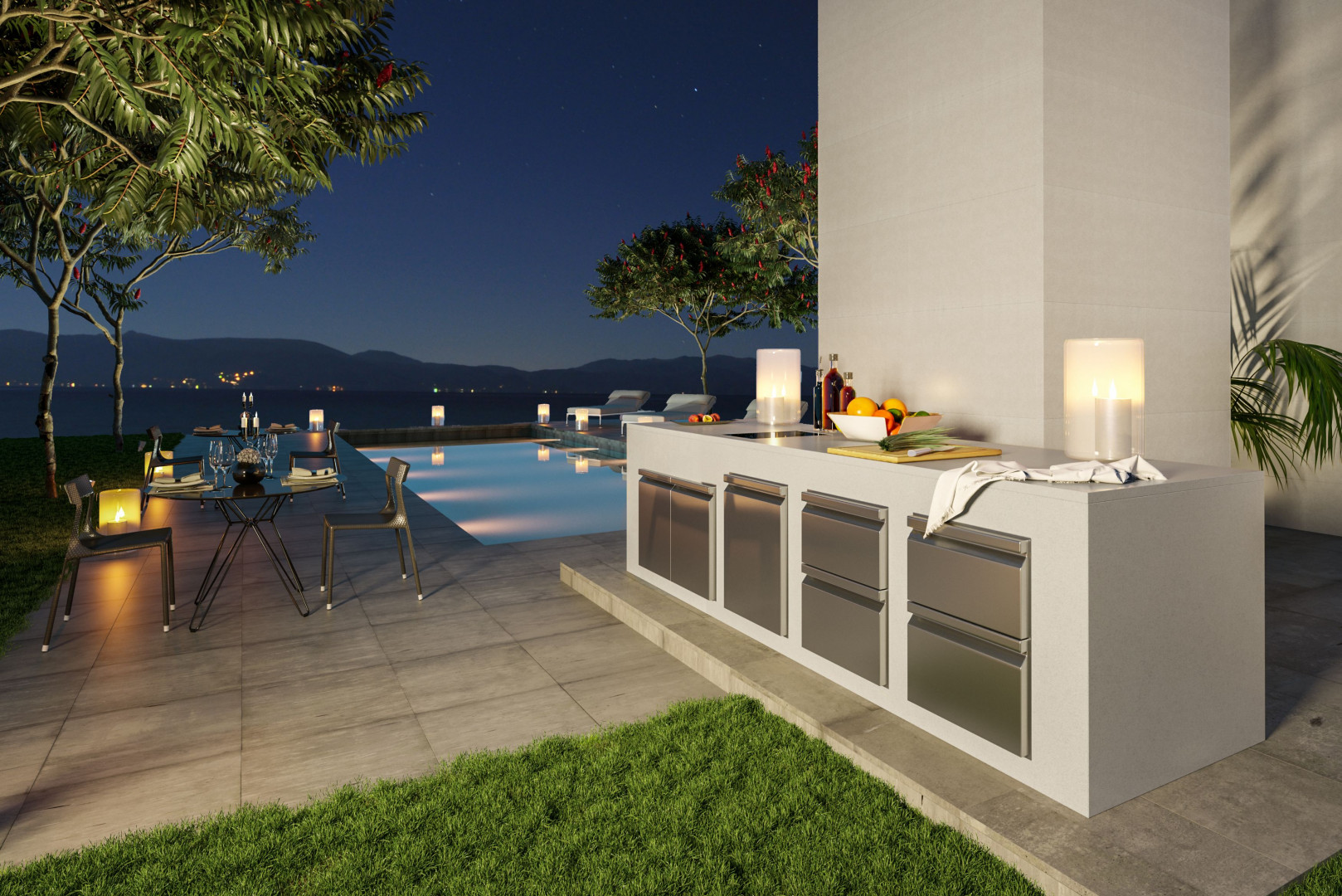 Kuchnia zewnętrzna wykonana z konglomeratu kwarcytowego. Fot. TechniStone