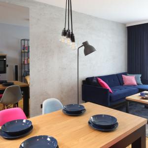 Granatowa sofa i różowe akcenty sprawiają, że wnętrze jest przytulne. Projekt Maciejka Peszyńska-Drews. Fot. Bartosz Jarosz