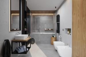 Kolekcja konsol łazienkowych z blatem i umywalką/Deante