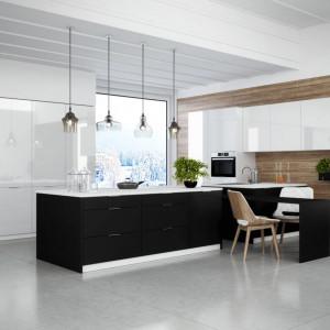Połączenie matowej czerni i bieli w połysku - szafki Akryl i Miramar marki Classen
